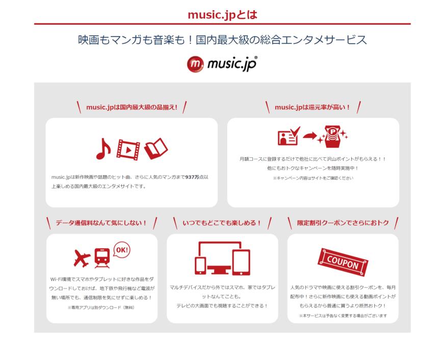 music.jp:無料登録で600円分付与